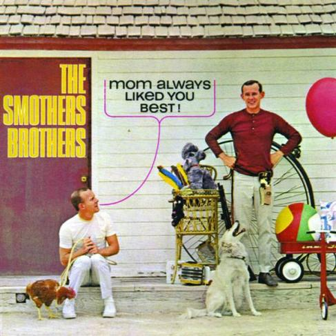 "Image of Record Album cover, Smothers Brothers, ""Mom Always Liked You Best!"" with one brother having an overabundance of gifts on his side and the other brother only having a chicken."