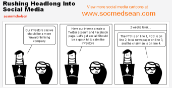 Cartoon Image with 2 executives discussing social media without considering the consequences